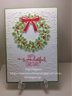 CreatewithMel: Wonderous Wreath - Stampin Up Wonderous Wreath, Christmas Card, Filagree Frame Embossing Folder