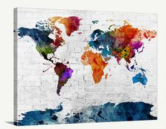 Trademark global michael tompsett urban watercolor world map map art watercolor mixcolor world map canvas print navy blue world map urban gumiabroncs Image collections