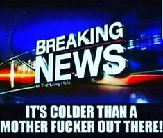 It's colder than a mother fucker out there. Funny Picture Quotes, Funny Pictures, Funny Quotes, Funny Memes, It's Funny, Quote Pictures, True Memes, Funny Pics, End Times News