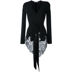 Givenchy tied lace hem blouse ($1,365) ❤ liked on Polyvore featuring tops, blouses, black, givenchy, tie waist top, floral lace blouse, long sleeve lace top, floral lace top and long sleeve v neck blouse