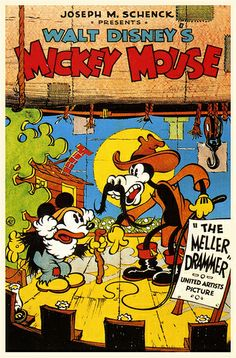 Mickey Mouse in Mickey's Mellerdrammer (United Artists, One Sheet X This lot is - Available at 2015 November 21 - 22 Vintage. Disney Movie Posters, Classic Movie Posters, Cartoon Posters, Classic Cartoons, Disney Films, Disney Vintage, Vintage Cartoon, Vintage Comics, Walt Disney