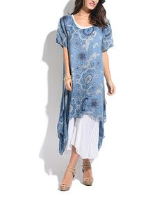 Take a look at this Blue & White Medallion Linen-Blend Layered Sidetail Dress today! Pretty Outfits, Pretty Dresses, Beautiful Outfits, Pretty Clothes, Hi Low Dresses, Simple Dresses, Fit N Flare Dress, Fit And Flare, Easter Outfit