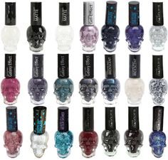 Product Nail Lacquer in Skull Polish Bottle. Black Sparkle, Blue Glitter, Crane, Punk Nails, Bright Red Nails, Gothic Nails, Nails Only, Diy Nail Designs, Holographic Nails