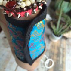 Vintage Vibrant Blue Silk Floral Dragon Bracelet + Wallet // Unique on Etsy, $16.49