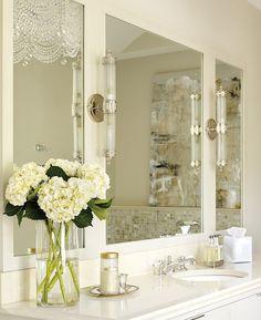 Luxurious Mirror and Beautiful Flowers for lovely ladies - Luxury Bathroom Delightfully Feminine at http://maisonvalentina.net/blog/luxury-bathroom-delightfully-feminine/ #womansbathroom #luxurybathroom