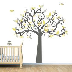 Yellow And Grey Owl Nursery Art Print Set X Baby Girl Room - Yellow flower wall decals