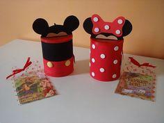 Lata do Mickey e Minie em eva com molde