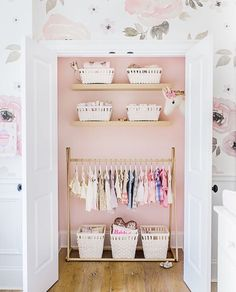 Nice Stacked Floating Nursery Closet Shelves Design photos ideas and inspiration Amazing gallery of interior design and decorating ideas of Stacked Floating