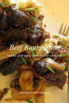 Sometimes you gotta curl up next to a fire, pour yourself some wine, and make a traditional recipe like this tasty and tender Beef Bourgignon. Beef Recipes, Whole Food Recipes, Healthy Recipes, Beef Bourgignon, Marinated Beef, Carnivore, Beef Dishes, Casserole Dishes, Meal Planning
