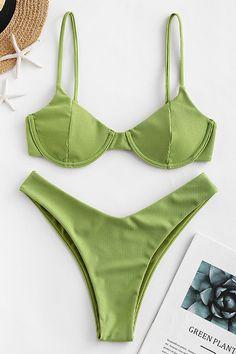 Trendy Bikinis, Cute Bikinis, Zaful Bikinis, Green Swimsuit, Bikini Swimsuit, Swimsuit For Sale, Green Bikini Set, Underwire Bikini Top, Bikini Types