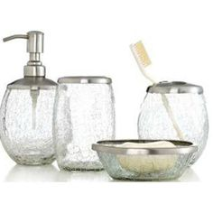 Bath accessories trends and bath on pinterest for Crackle glass bathroom accessories