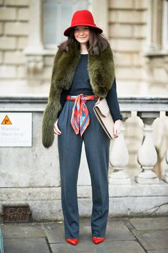 wide-brim hat and scarf-turned-belt