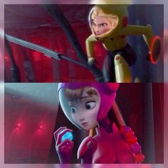 Elsa as Gogo and Anna as Honey Lemon Anna Coronation Dress, Princess Pictures, Disney Crossovers, The Big Four, Big Hero 6, Disney And Dreamworks, Disney Characters, Fictional Characters, Cartoon