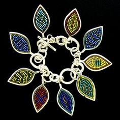 Mary Kanda, Leaf variations bracelet, 2000, Sterling, glass beads, torch-fired glass, tile grout