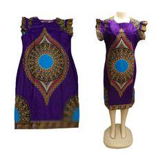 One Piece African Clothing Hippie Top,Women Dashiki Shirt Short Sleeve Purple…