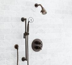 Warby Thermostatic Hand-Held Shower Set, Antique Bronze finish