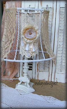Altered Vintage Lace Lampshade Lamp Shade Upcycled Shabby Chic Boho White WKayDesignz on Etsy, $59.28