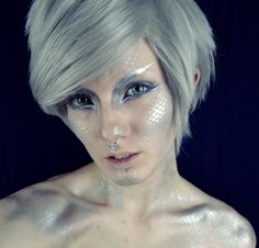 The first installment to my Yu-Gi-Oh! themed makeup series: The Blue-Eyes White Dragon! [spectredelflector.tumblr}