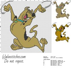 Scooby Doo character from cartoon Scooby Doo free cross stitch pattern