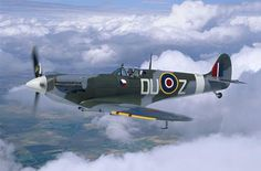 Supermarine Spitfire Mk.Vc.  WWII aircraft in action at Washington aviation museum.