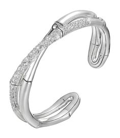 Finks Jewelers - John Hardy Bamboo Cross-Over White Sapphire Cuff, $1,595.00 (http://finksjewelers.com/john-hardy-bamboo-cross-over-white-sapphire-cuff/)