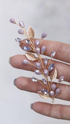 Wire Jewelry Designs, Handmade Wire Jewelry, Jewelry Patterns, Beaded Jewelry, Diy Hair Accessories, Handmade Accessories, Bridal Accessories, Cute Jewelry, Hair Jewelry