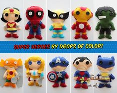 Super Heroe Plush Toy - Your Choice of Felt Plush Super Heroes Ornaments - Spider Man, Batman, Iron Man, Cap. America, Hulk and more.. $15.00, via Etsy.