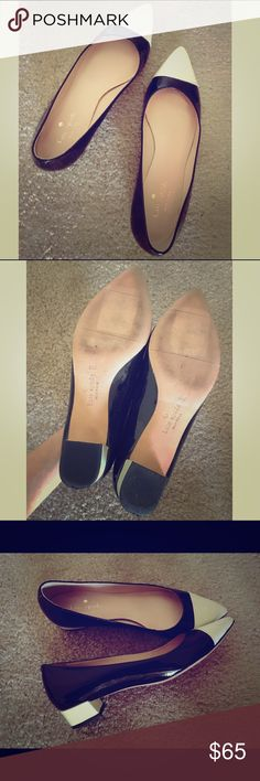 Kate Spade Rare Black and Cream Leather Shoes Unique cream-toe black leather shoes fits any outfit! Size 6. Only wear them 3 or 4 times. Sign of slight scratches on toes, otherwise in great condition. Bundle to enjoy more discount!🎉🎉 kate spade Shoes