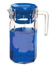 Circleware Lodge Glass Beverage Drink Pitcher with Blue Plastic Lid 50 Ounce Limited Edition Glassware Drinkware Water Dispenser -- Check this awesome product by going to the link at the image. Drink Dispenser, Water Dispenser, Pearl River Mart, Corning Museum Of Glass, Beverages, Drinks, Beverage Drink, Glass Pitchers, Beveled Glass