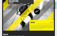 Valentine Favre yellow and grey one pager with a little #puppy in the main graphic :)
