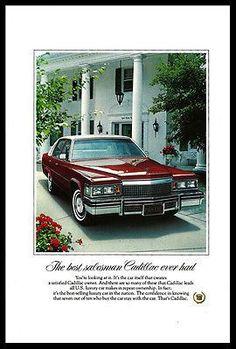Cadillac 1979 Ad Red White Luxury 4 door Autotomobile Car Photo Print Advert