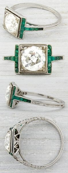 Art Deco engagement ring with calibre emerald accents and a carat EGL certified old European cut diamond with J-K color and in clarity. Via Diamonds in the Library. My favorite great auntie had stunning Art Deco jewelry and this reminds me of her things. Anel Art Deco, Art Deco Schmuck, Bijoux Art Nouveau, Art Deco Ring, Art Deco Jewelry, Fine Jewelry, Jewelry Crafts, Antique Jewelry, Vintage Jewelry