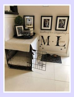 Puppy Room Konzept-Ideen, Atemberaubende Puppy Room Konzept-Ideen, Atemberaubende Puppy Room Konzept-Ideen, This DIY Dog Crate Furniture Piece Will Transform Your Living Room Crate & Table Wood Chevron Art Kennel Cover modify your Animal Room, Dog Bedroom, Puppy Room, Puppy Beds, Puppy Playpen, Pet Beds, Dog Spaces, Small Spaces, Dog Corner