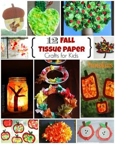 12 Fall Crafts for Kids Using Tissue Paper! Simple and fun crafts to do with you toddlers or preschoolers this autumn! #fallcrafts #kidscrafts #autumncrafts #kidsactivities