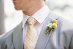 Yellow and gray for the groom