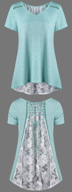 $14.19 Floral High Low Hem Lace Up T-Shirt - White And Green: