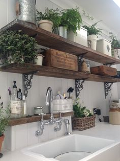 Might be cute to have some exposed shelves somewhere with iron that matches the vent hood & rustic wood
