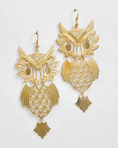 What a Hoot Large Gold Owl Statement Earrings, $18.00 Find fun fabulous fashion jewellery and statement jewlry at Strike Envy. #jewellery #jewlry StrikeEnvy.com