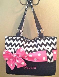 Personalized Diaper Bag In Black & White Chevron Print by CeeJaze, $65.00
