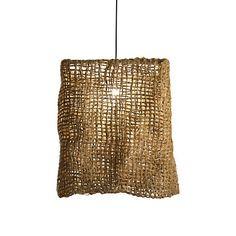 Make something similar by putting burlap around a lamp shade frame