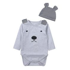 Bear Romper and Stripe Baby Hat 2Pcs Clothing Set