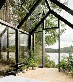 Invernaderos acristalados llenos de plantas, un placer para los sentidos...