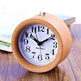 Small Bedroom Silent Alarm Clock,TOPBRIGHT Creative Handmade Wooden Clock Travel Clock, Nightlight,Luminos hands,Snooze,No Ticking,Battery Power   Made of natural beech, selected from the world's best high quality beech imported from Romania,Decent and fashionable look, Hand-made with Fine...