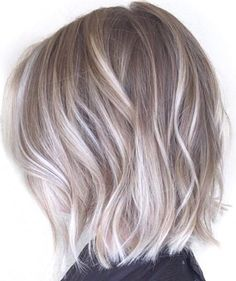 medium choppy cut ash blonde and silver ombre