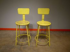 Yellow Vintage Industrial Bar Stools