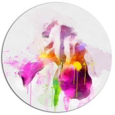 "DesignArt 'Purple Rose Illustration Watercolor' Oil Painting Print on Metal Size: 11"" H x 11"" W x 1"" D"