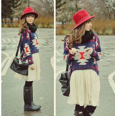 powiewna spódnica+sweter+kalosze