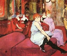 Items similar to Salon at the Rue des Moulins by Henri de Toulouse Lautrec, 1894 - Poster Print, Sticker or Canvas Print / Gift Idea / Christmas Gift on Etsy Henri De Toulouse Lautrec, Art Nouveau, Le Sphinx, Georges Seurat, Vintage Art Prints, Post Impressionism, Art Station, Le Moulin, French Artists