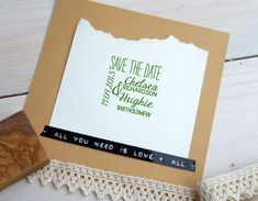 So cool and DIY. Love the Beatles tape. Custom Save The Date Dual Font Olive Wood by ahueofduckeggblue, $24.50
