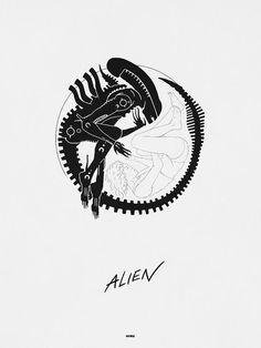 Cool Art: 'Alien Ying Yang' by Matt Ferguson Alien Tattoo Xenomorph, Giger Alien, Hr Giger, Predator 1, Predator Series, Alien Isolation, Aliens Movie, James Cameron, Fandom